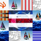 Nautical Quilt Top Letter C Sail Flags