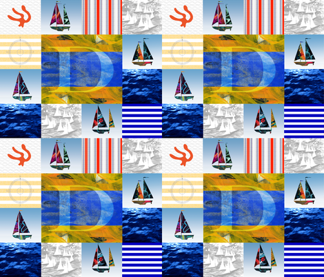 Nautical Quilt Top Letter D Sail Flags fabric by barbarapritchard on Spoonflower - custom fabric