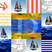 Nautical Quilt Top Letter D Sail Flags