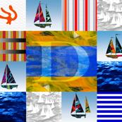 Nautical Quilt Top Letter D Sail Flags