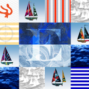 Nautical Quilt Top Letter E Sail Flag