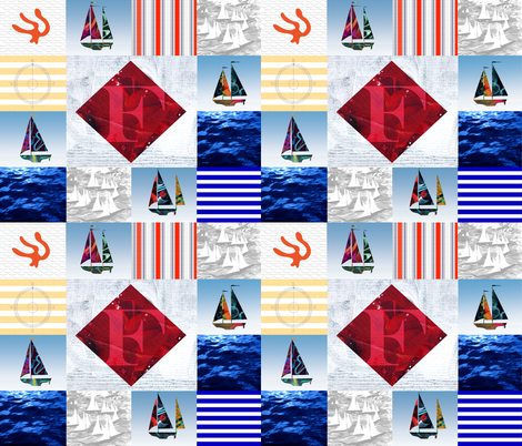 Nautical Quilt Top Letter F Sail Flag fabric by barbarapritchard on Spoonflower - custom fabric