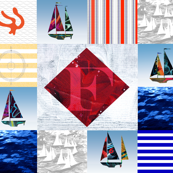 Nautical Quilt Top Letter F Sail Flag