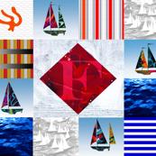 Nautical Quilt Top Letter F Sail Flag