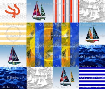 Nautical Quilt Top Letter G Sail Flags