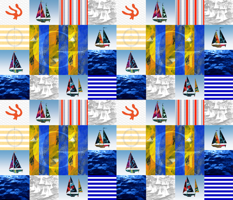 Nautical Quilt Top Letter G Sail Flags fabric by barbarapritchard on Spoonflower - custom fabric