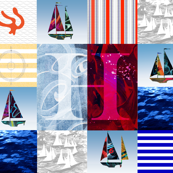 Nautical Quilt Top Letter H Sail Flag
