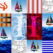 Nautical Quilt Top Letter H Sail Flag