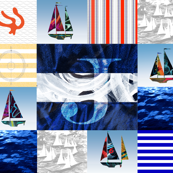 Nautical Quilt Top Letter J Sail Flag
