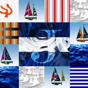 Nautical Quilt Top Letter J Sail Flag