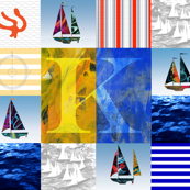 Nautical Quilt Top Letter K Sail Flag