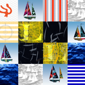 Nautical Quilt Top Letter L Sail Flag