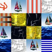 Nautical Quilt Top Letter L Sail Flag