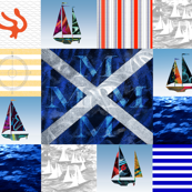 Nautical Quilt Top Letter M Sail Flag