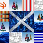 Nautical Quilt Top Letter M Sail Flag