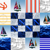 Nautical Quilt Top Letter N Sail Flag