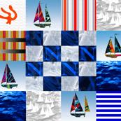 Nautical Quilt Top Letter N Sail Flag