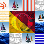 Nautical Quilt Top Letter O Sail Flag