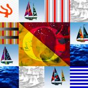 Nautical Quilt Top Letter O Sail Flag