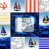 Nautical Quilt Top Letter P Sail Flag