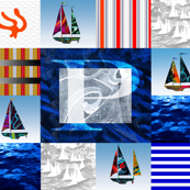 Nautical Quilt Top Letter P Sail Flag