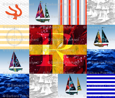 Nautical Quilt Top Letter R Sail Flags