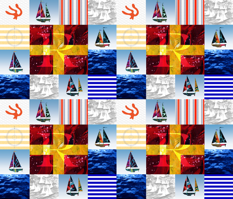 Nautical Quilt Top Letter R Sail Flags fabric by barbarapritchard on Spoonflower - custom fabric