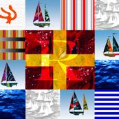 Nautical Quilt Top Letter R Sail Flags