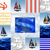 Nautical Quilt Top Letter S Sail Flag