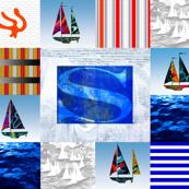 Nautical Quilt Top Letter S Sail Flag
