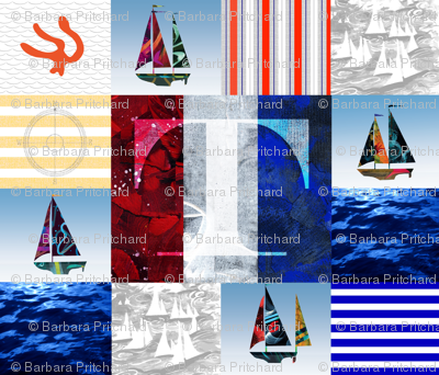 Nautical Quilt Top Letter T Sail Flags