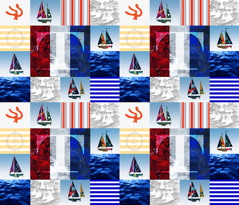 Nautical Quilt Top Letter T Sail Flags fabric by barbarapritchard on Spoonflower - custom fabric