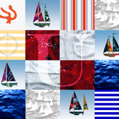 Nautical Quilt Top Letter U Sail Flag