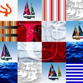 Nautical Quilt Top Letter U Sail Flag
