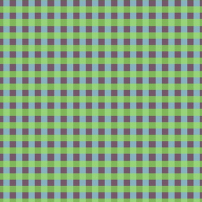 Spring Checkered Pattern in Blue, Maroon & Green