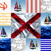 Nautical Quilt Top Letter V Sail Flags
