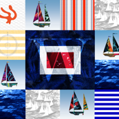 Nautical Quilt Top Letter W Sail Flag