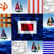 Nautical Quilt Top Letter W Sail Flag