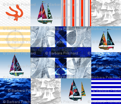 Nautical Quilt Top Letter X Sail Flags