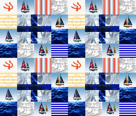 Nautical Quilt Top Letter X Sail Flags fabric by barbarapritchard on Spoonflower - custom fabric