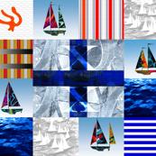 Nautical Quilt Top Letter X Sail Flags
