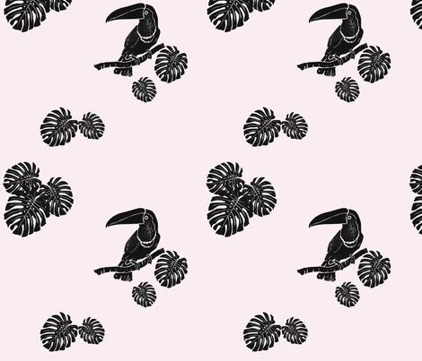 Toucan in Monstera  fabric by mylittleprintfabrics on Spoonflower - custom fabric