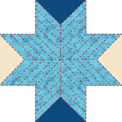 Quilted Star. Mulit Blues