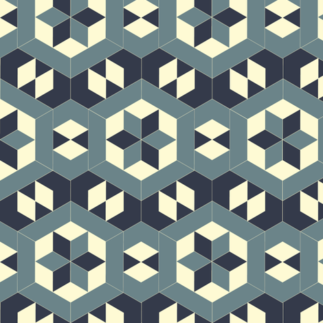 Bayeux Hexagon Stars and Diamonds 4 fabric by eclectic_house on Spoonflower - custom fabric
