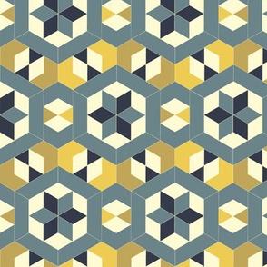 Bayeux Hexagon Stars and Diamonds 8