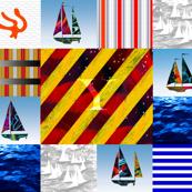 Nautical Quilt Top Letter Y Sail Flag