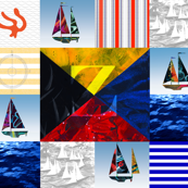 Nautical Quilt Top Letter Z Sail Flag