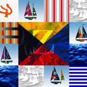 Nautical Quilt Top Letter Z Sail Flag