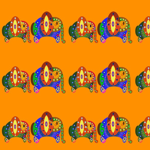 Funky Elephants in orange