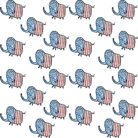 4th of July Elephants  fabric by littlebittyprints on Spoonflower - custom fabric
